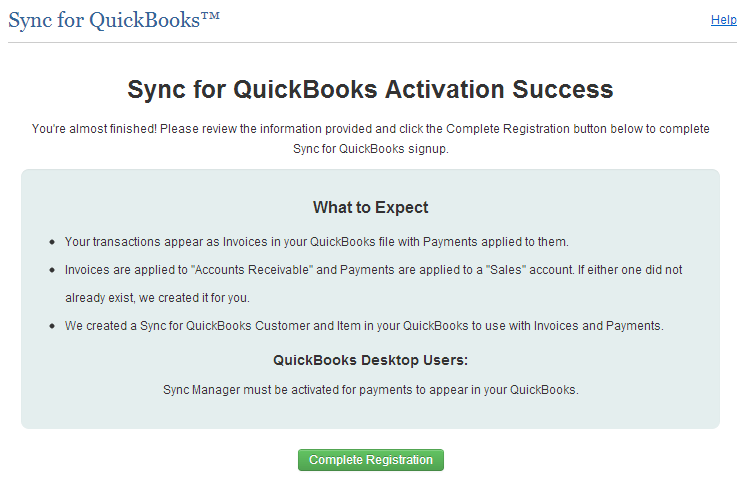 Note: A generic customer (Sync for QuickBooks Customer) will be created in your QuickBooks account. All transactions will be assigned to this customer when synchronized from Authorize.