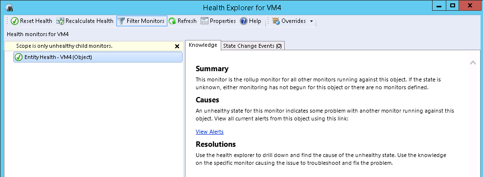 Chapter 5: Solution Verification Figure 14. Virtual machine health The Health Explorer view provides information about the possible causes of errors that are displayed on the virtual machine.