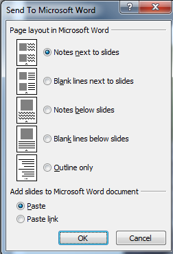 Create handout with Microsoft Word 1. On the File tab, select Save & Send 2. Select the Create Handouts option, and click the Create Handouts button 3. Select desired layout and click OK.