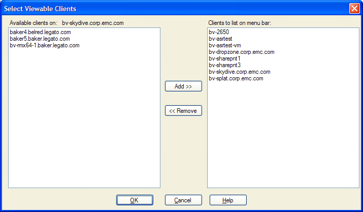 Overview of Product Features Figure 5 Configuration Options 5. Click Refresh ( ). The following figure shows the Select Viewable Clients dialog box that appears.