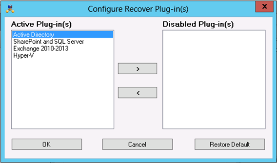 NetWorker Client Management The Configure Recover Plug-in(s) dialog box appears displaying all the recover plugins in the Active Plug-in(s) field, as shown in the following figure.