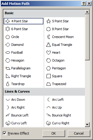 The pop-up menu shows the following groups of effects: Entrance (green stars) - applies an effect when text or an object enters the slide Emphasis (yellow stars) - adds an effect to text or an object