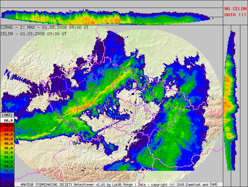 ... t + 2 t + 1 t t - 1 Figure 4. Radar image from 1. 3. 2008, 10:00 CET and areas of every pixel are extracted from each image.