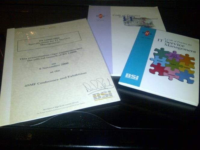 ISO20000 pedigree 1995 Book - Code of practice for ITSM 1998 Revised smaller edition book o awarded innovation of the year by ITSMF 2000 BS15000 2005 ISO/IEC 20000-1 2011 ISO/IEC 20000-1 Other parts