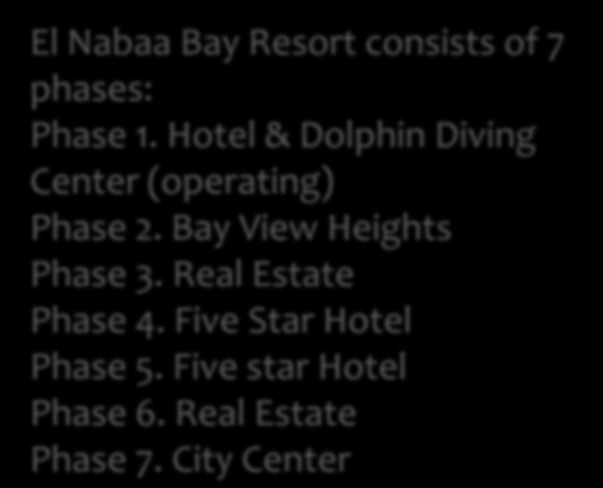 Hotel & Dolphin Diving Center (operating) Phase 2.