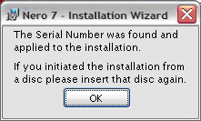 "Retrieving the serial number 4. If you cannot find the serial number printed on the paper sleeve or on the disc case, insert the ""old"" Nero 7 Essentials disc into the disc drive of your PC."