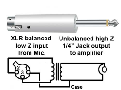 Fig. 11.4.5 shows a typical microphone transformer that plugs directly into an unbalanced high impedance amplifier input.