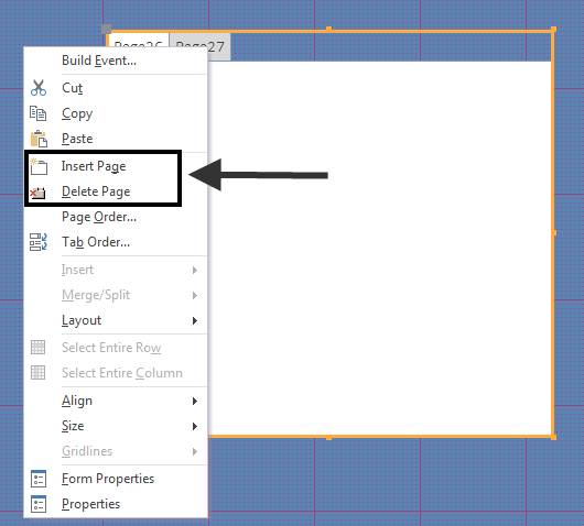 4. The following steps explain how to create the main form. 4.1. Apply any color/labels to your form. 4.2. On the Design tab, click the Tab Control button (see Figure 26).