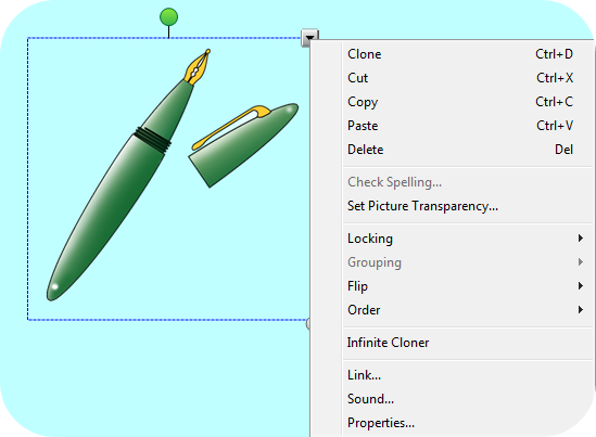 Modifying Objects Image and Text Right Click Window When you right click on an object (or click on the arrow at the top right of an image) you get a window with 13 options.