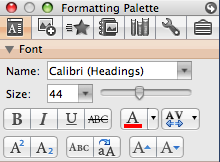 The Formatting Palette: (Figure 6).
