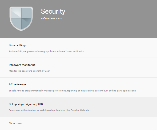 3. On the Security window, click Set up single sign-on (SSO).