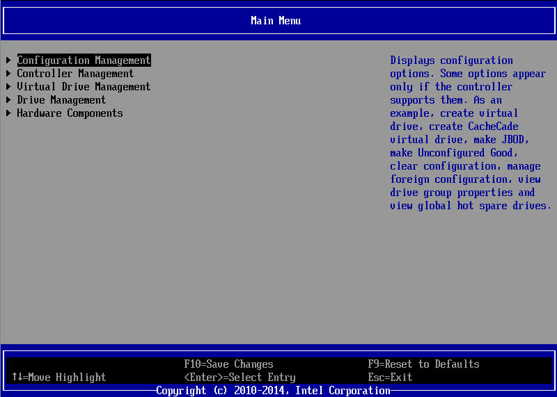 Look up the GPT Disk Properties 4. Select the RAID controller.