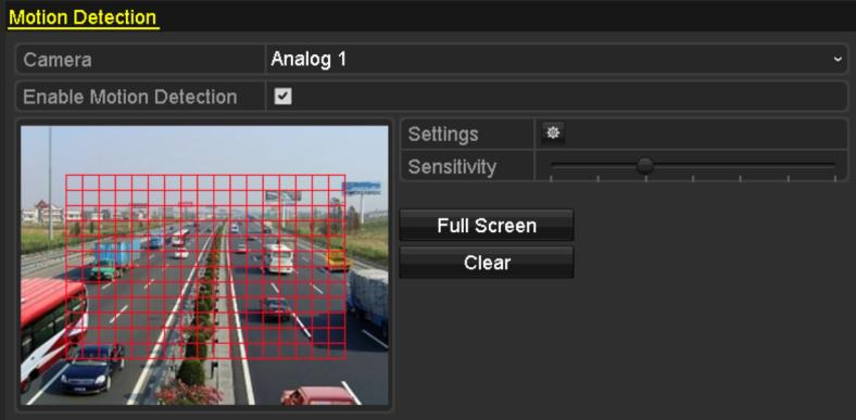8.1 Setting Motion Detection 1. Enter Motion Detection interface of Camera Management and choose a camera you want to set up motion detection. Menu> Camera> Motion Figure 8.