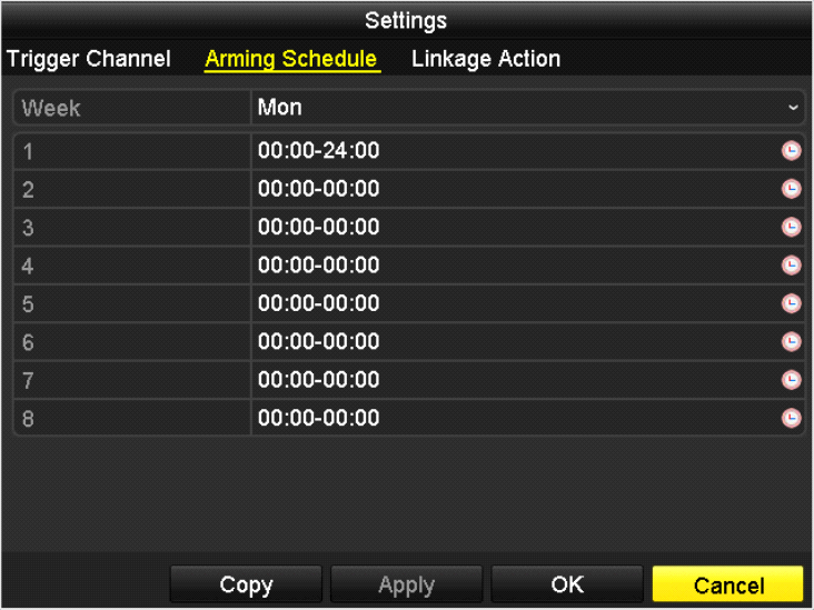 Select Arming Schedule tab to set the channel s arming schedule. Choose one day of a week and up to eight time periods can be set within each day.