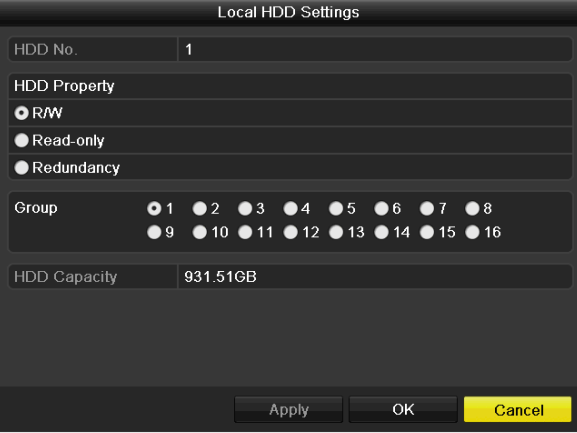 User Manual of Digital Video Recorder Figure 10. 17 Set HDD Property 3. Set the HDD property to R/W, Read-only or Redundancy. 4. Click the OK button to save the settings and exit the interface. 5.