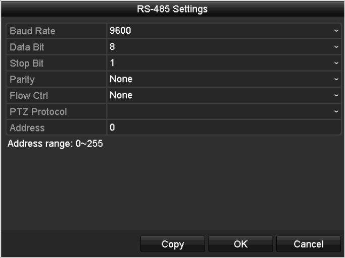 Enter the PTZ Settings interface. Menu >Camera> PTZ Figure 4. 1 PTZ Settings 2.