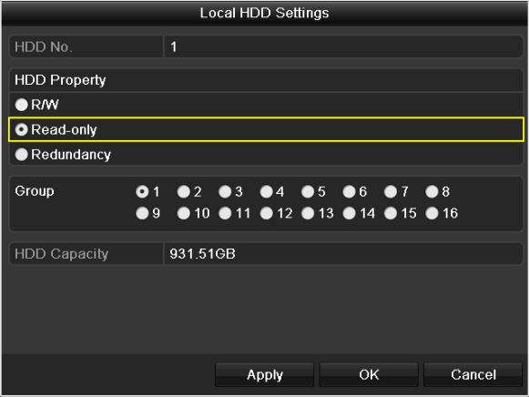 Before you start: To edit HDD property, you need to set the storage mode of the HDD to Group. See Chapter 10.4 Managing HDD Group. 1. Enter HDD setting interface. Menu> HDD Figure 5. 30 HDD General 2.