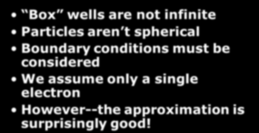 This is an oversimplification Box wells are not infinite Particles aren t spherical Boundary