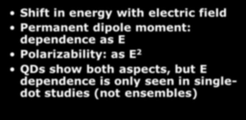 Stark Effect Shift in energy with electric field Permanent dipole moment: dependence as E Polarizability: as E 2 QDs show both aspects, but