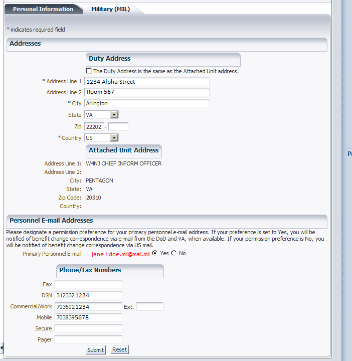 a. Select desired work information tab as shown in Figure 7. (MIL in this example). Enter duty (work) address here. This email address is the one on your PKI cert Enter duty phone numbers here.