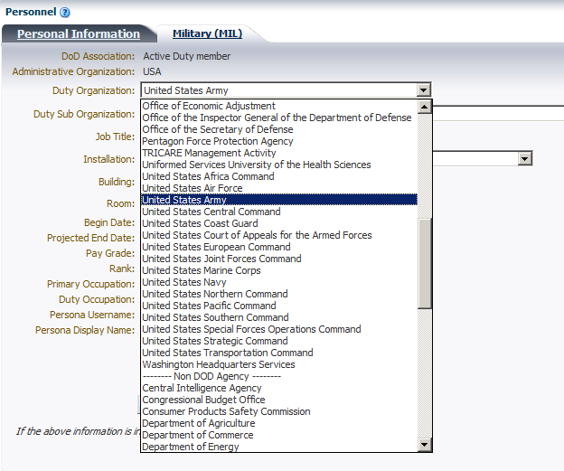 c. To change Organization, select Duty Organization within drop down menu as seen in Figure 14. Figure 14. Duty Organization d.