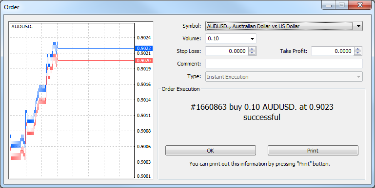 Opening a position In order to open the Order window, you can double click on the instrument you want to trade or right click the symbol and click New Order. The order window will appear as below.