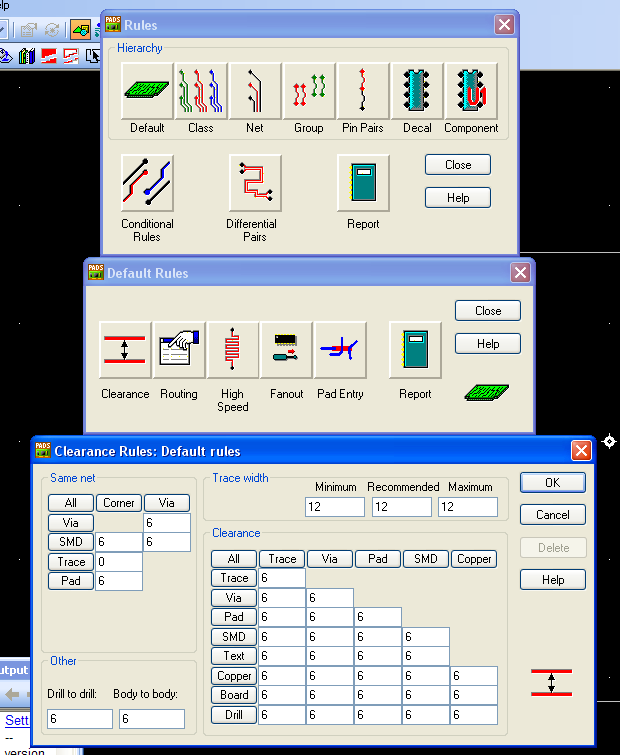 spacing between many different types of components. A matrix is located within this dialog box, with eight different categories for design rules.