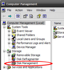 In the new Computer Management window, select Disk Management from the left window panel. 2.