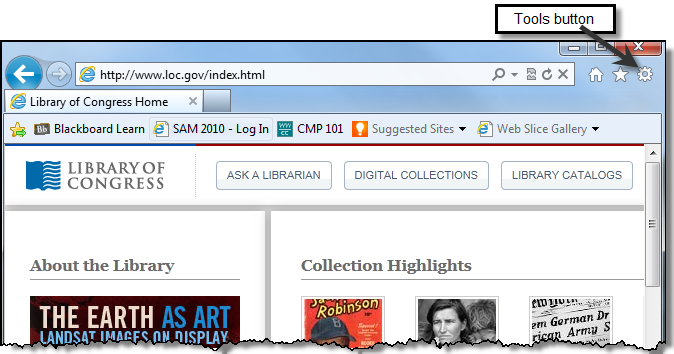 Previewing a Web Page 1. Return to the Library of Congress home page (if it s not in the History list type www.loc.gov in the address bar). 2.