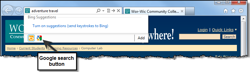 The Internet Explorer Gallery opens with large buttons for selecting search providers. 5. Place your mouse over the large buttons and move it toward the right side of the window.