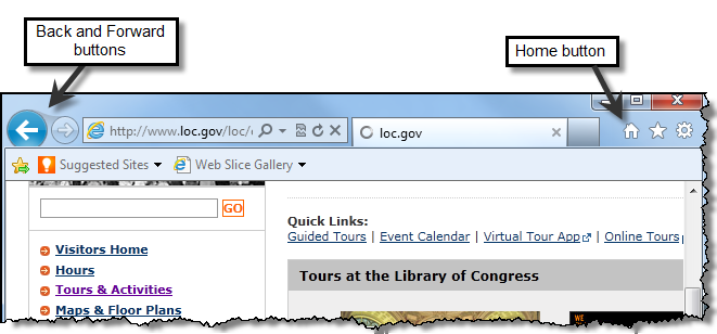 View and Navigate Web Pages 1. Click the Tours link. The Tours & Activities page loads. You have now navigated to a new page within the Library of Congress site. 2.