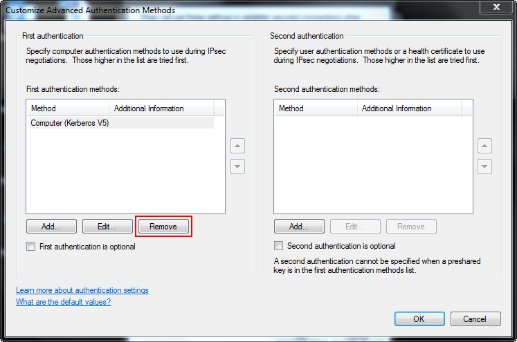 Under Authentication Method, select Advanced and click Customize to display the Customize Advanced Authentication