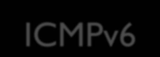 ICMPv6 Internet Control Message Protocol (ICMP) for Internet Protocol version 6 (IPv6) Defined under RFC 4443 Mainly used for error message Several extensions have been published, defining new