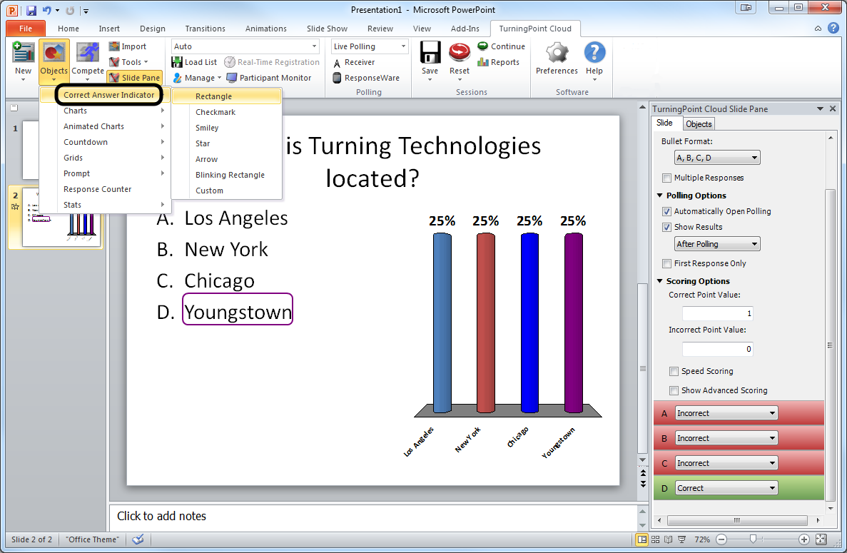 PowerPoint Polling for PC 3 2 Add a Correct Answer Indicator to give participants a visual confirmation of the correct answer after polling has closed.