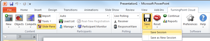PowerPoint Polling for PC 8 7 Click Reset and select Session. 8 Start the Slide Show.