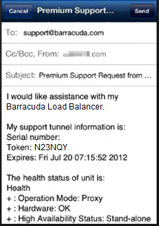 5. An email displays the selected device details and support tunnel information: 6.