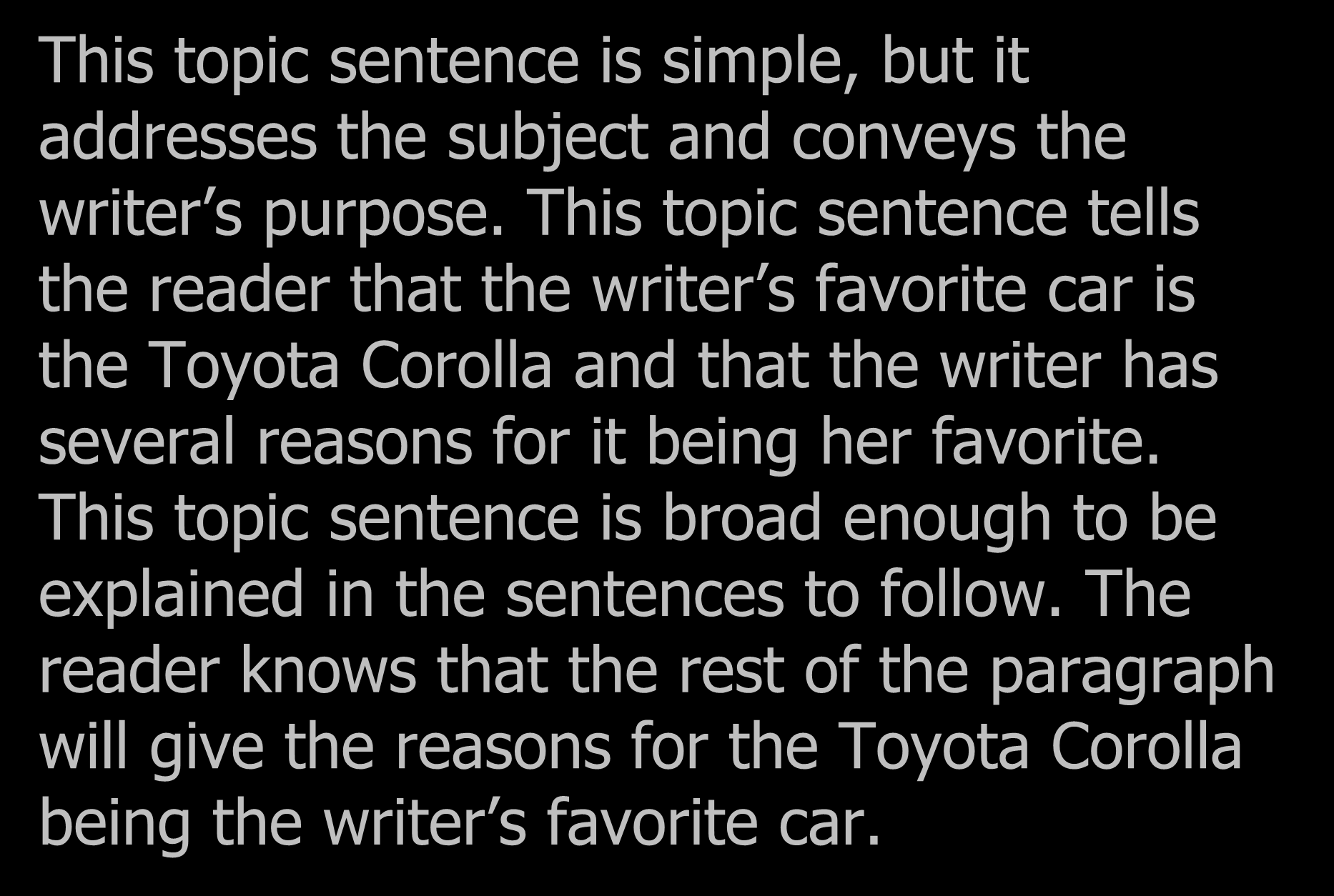 Example 1 This topic sentence is simple, but it addresses the subject and conveys the writer s purpose.