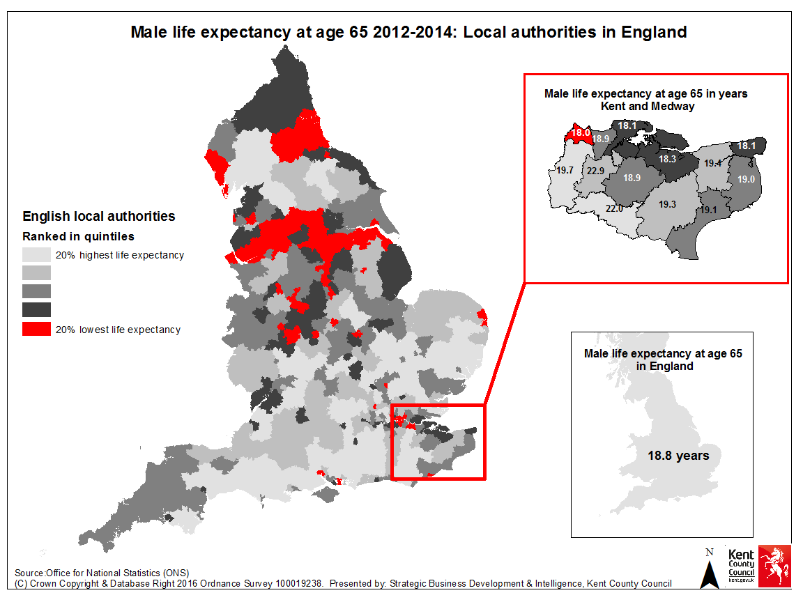 Map 3: Male life expectancy at age 65: 2012-2014 Map