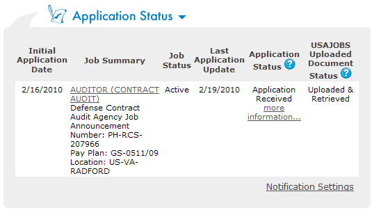 USAJOBS Application Status The Application Status Area of your USAJOBS account serves as the main source of information for the status of your online applications.