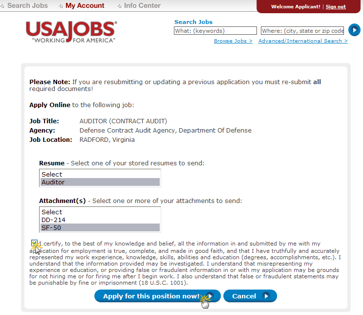 Select Resume and Attachment(s) After you click Apply Online, you will have the option to select a Resume and any supporting documents (attachments) to be linked to your application.