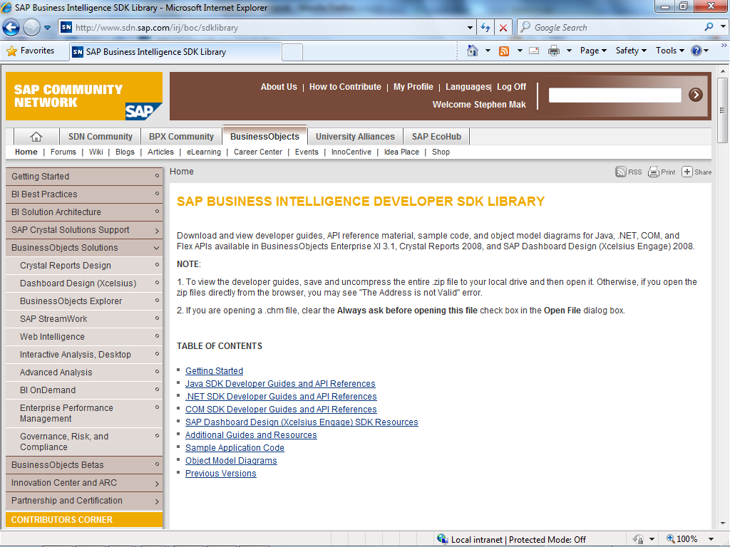 SAP Business Intelligence Developer SDK Library http://www.sdn.sap.