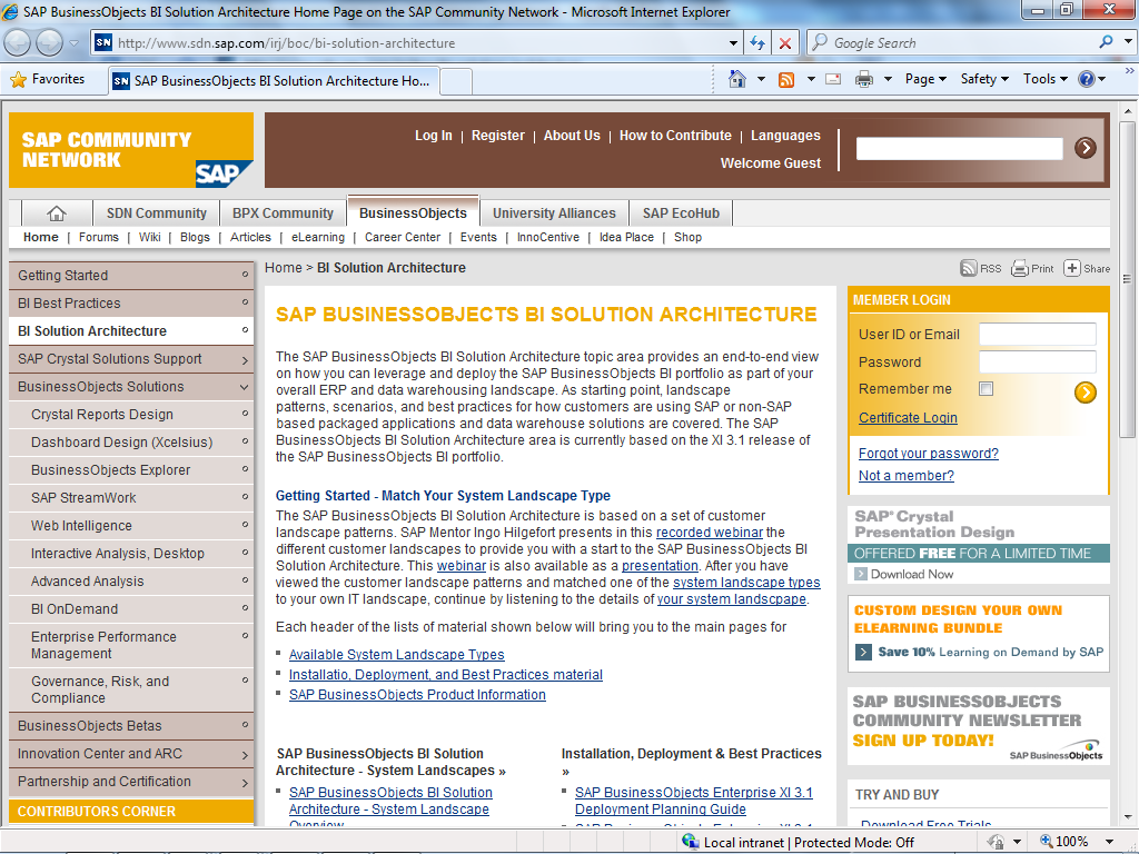 SAP BusinessObjects Solution Architecture Customer