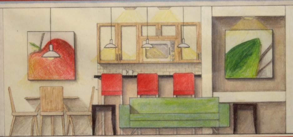 LIVING ROOM AND KITCHEN Prismacolor Rendering Elevation The floor plan for this project was provided. The elevation represents the wall between family room and kitchen.