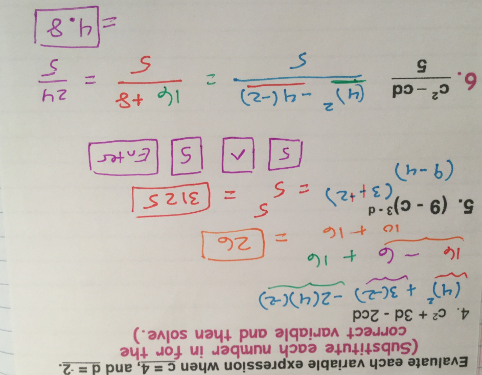 1.1 evaluating expressions ink.notebook Evaluate each variable expression when c = 4, and d = 2.