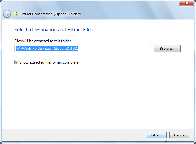 By default, Windows will create a folder with the same name as the ZIP folder in the same storage location. 11.