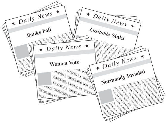 20. Which one of these headlines would have most likely appeared during World War II? (use the illustration to the right) a. Banks Fail b. Lusitania Sinks c. Women Vote d. Normandy Invaded 21.