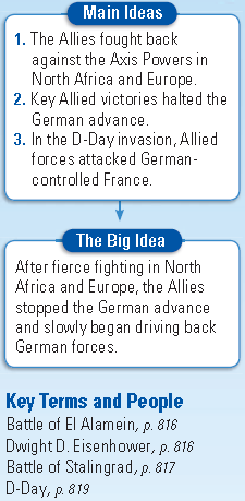 War in Europe and North Africa Section 3 Page 815 The Allies Fight Back (1): 1.