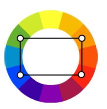Triadic (double complementary) Uses four colors arranged into two