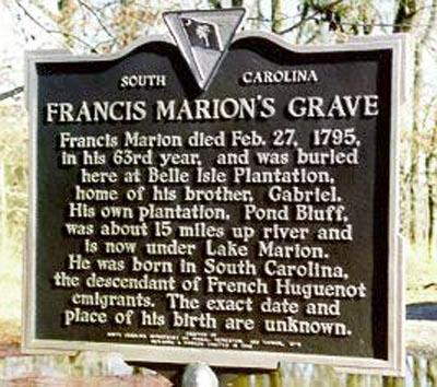 On February 27, 1795, the great American legend, Francis Marion, died at his plantation, Pond
