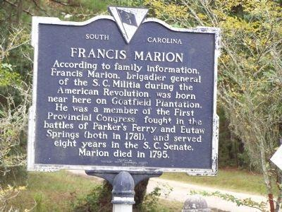 Francis Marion was born in 1732 in Berkeley County, South Carolina. His family owned a plantation in Berkeley County, and Francis was the youngest of the children.